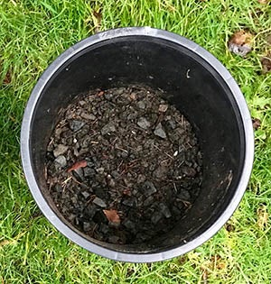 gravel in bottom of container