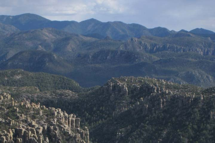 Looking south to the high peaks of the Chiricahua Mountains from Sugarloaf Mountain in Arizona