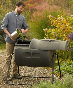 A rotating compost tumbler makes it easy to keep compost aerated.