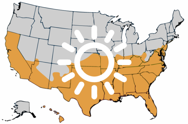 Fall Planting Wildflower Seed in Warmer Climates Map